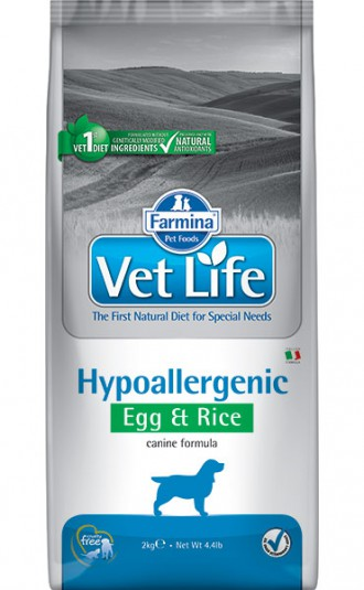 Farmina Vet Life Dog Hypoallergenic Egg & Rice Сухой корм для собак при пищевых аллергиях, яйца и рис